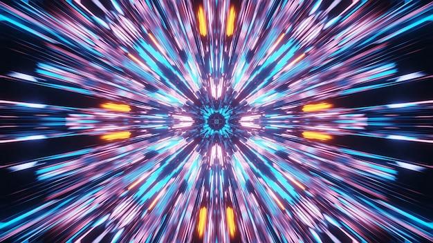 Żywy piękny abstrakcyjny wzór mandali na tle w kolorach niebieskim, pomarańczowym i różowym