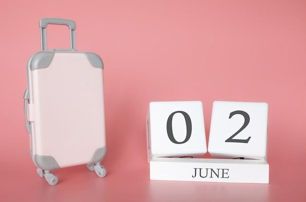 02 de junio, hora de vacaciones de verano o de viaje, calendario de vacaciones