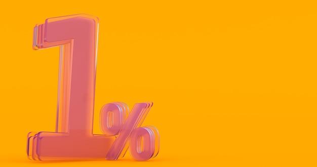 Uno (1) por ciento en vidrio, número de vidrio 3d sobre fondo de banner de color, render 3d