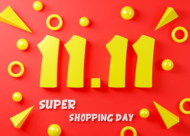 1111 concepto de festival de venta de un solo día banner amarillo 1111 número 3d render ilustración
