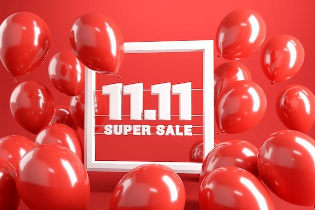 1111 venta del día mundial de compras sobre fondo rojo.