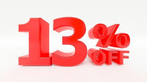 13 por ciento de descuento en texto 3d en fondo blanco.