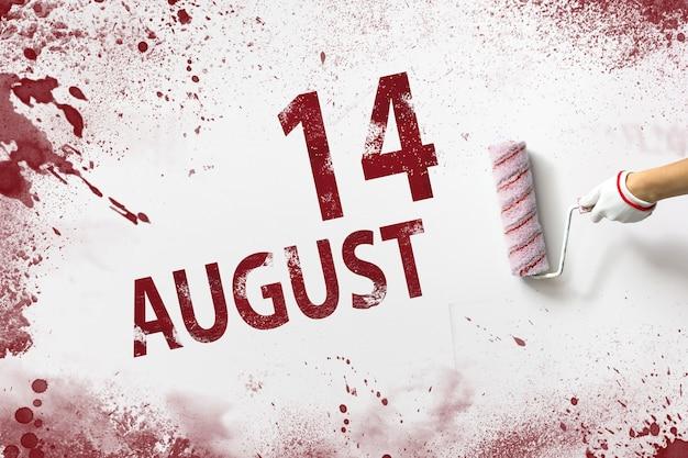 14 de agosto. día 14 del mes, fecha del calendario. la mano sostiene un rodillo con pintura roja y escribe una fecha del calendario sobre un fondo blanco. mes de verano, concepto de día del año.