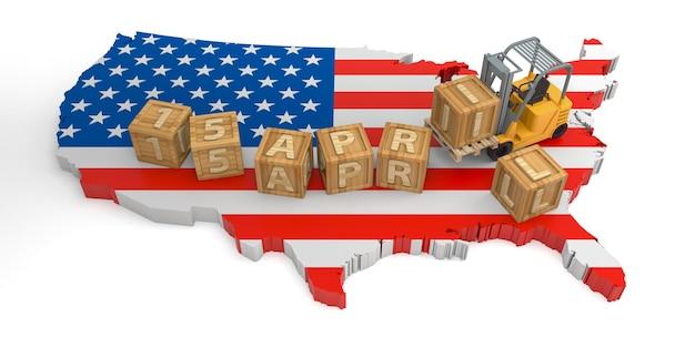 15 de abril texto de bloque de madera del mapa de estados unidos. representación 3d
