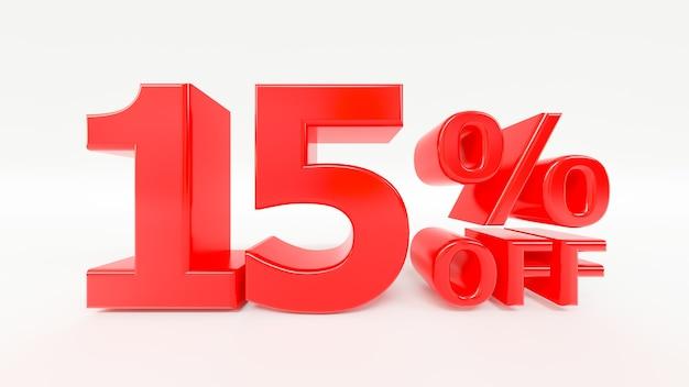 15 por ciento de descuento en texto 3d en fondo blanco