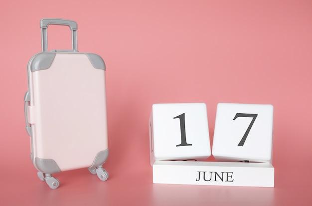 17 de junio, hora de vacaciones de verano o viaje, calendario de vacaciones