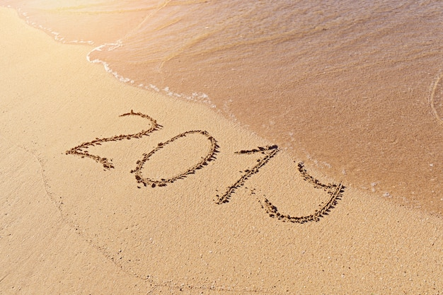 2019 texto escrito a mano en playa de arena con ola al ras