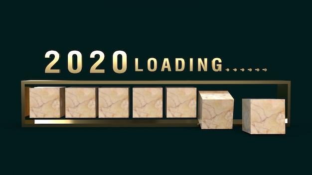 2020 cargando representación 3d para contenido de vacaciones.