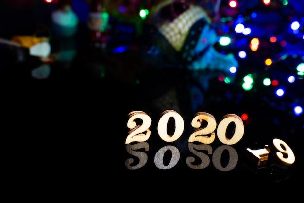 2020 feliz año nuevo número de madera decoración navideña