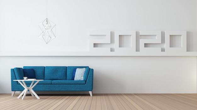 2020 feliz año nuevo salón interior / 3d rendering interior