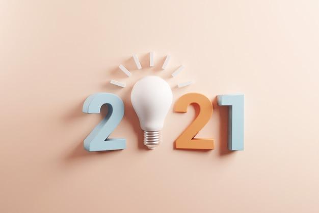 2021 conceptos de inspiración de creatividad, idea de bombilla con año nuevo 2021.