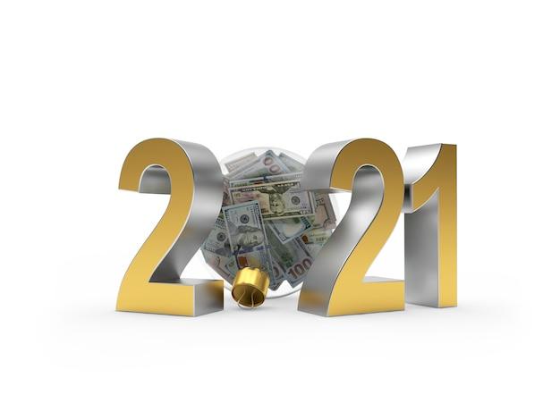 2021 números con bola de navidad transparente llena de billetes de un dólar
