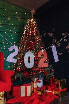 2021 numeros fiesta de año nuevo, arbol de navidad