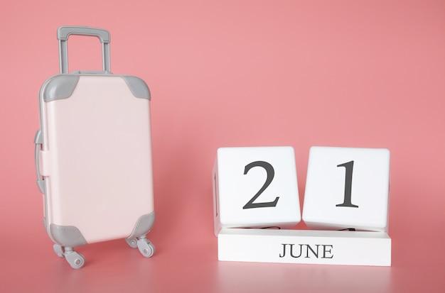 21 de junio, hora de vacaciones de verano o viaje, calendario de vacaciones