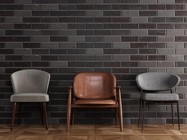 3 sillas diferentes en estilo moderno de pie frente a la pared de ladrillo negro con copyspace