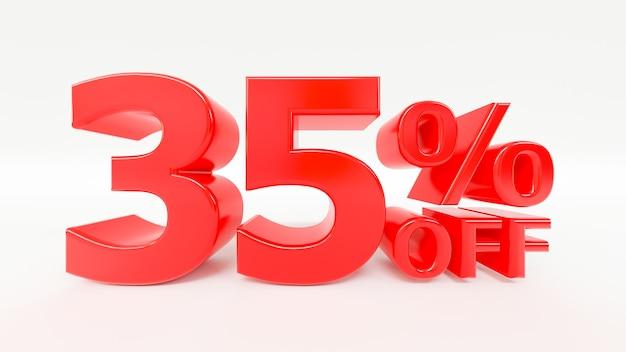 35 por ciento de descuento en texto 3d en fondo blanco