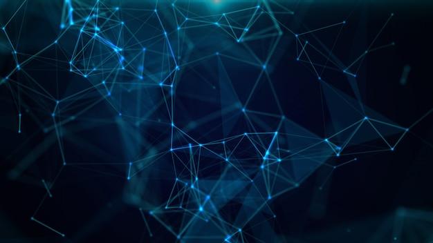 3d abstracto geométrico. triángulos, puntos y líneas se conectan con brillo.