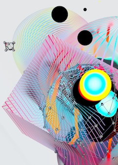 3d de arte abstracto con esferas de meta bolas de forma orgánica brillante festiva surrealista