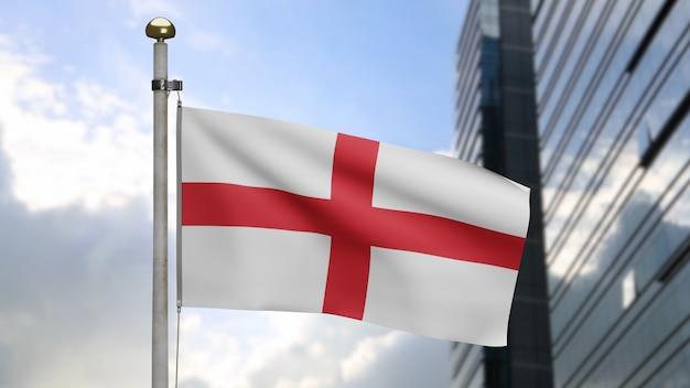 3d, bandera de inglaterra ondeando en el viento con la ciudad moderna de rascacielos. bandera inglesa que sopla, seda suave y lisa. fondo de la bandera de la textura de la tela del paño. úselo para el concepto de ocasiones de día nacional y país