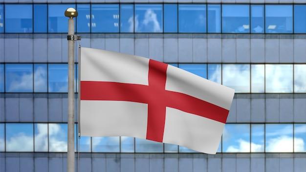 3d, bandera de inglaterra ondeando en el viento con la ciudad moderna de rascacielos. cerca de la bandera inglesa que sopla, seda suave y lisa. fondo de la bandera de la textura de la tela del paño.