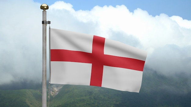 3d, bandera de inglaterra ondeando en el viento en la montaña. bandera inglesa que sopla, seda suave y lisa. fondo de la bandera de la textura de la tela del paño. úselo para el concepto de ocasiones de día nacional y país.