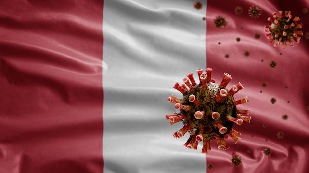 3d, bandera peruana ondeando con brote de coronavirus que infecta el sistema respiratorio como gripe peligrosa. virus de influenza tipo covid 19 con plantilla nacional de perú soplando
