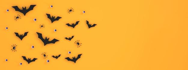 3d. banner de fondo del festival de halloween sobre fondo naranja murciélagos, globos oculares, arañas, fantasmas
