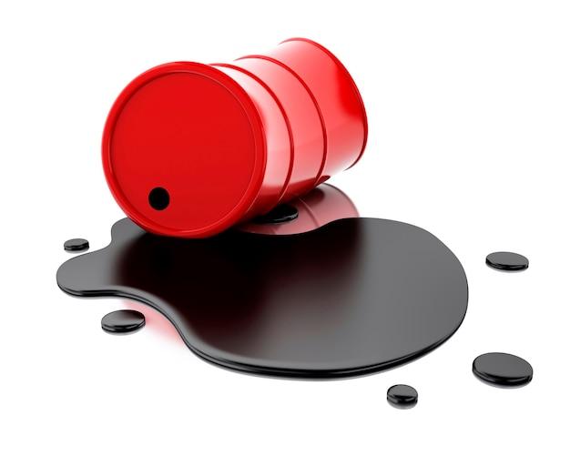 3d un barril rojo de petróleo derramado.