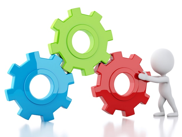 3d blanco empresarios y mecanismo de engranaje