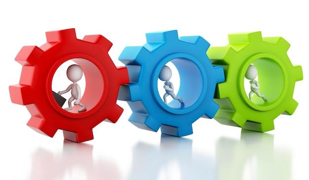 3d blanco empresarios con un mecanismo de engranaje