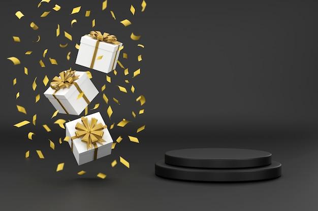 3d. caja de regalo y cinta dorada junto al podio para mostrar productos con fondo negro.