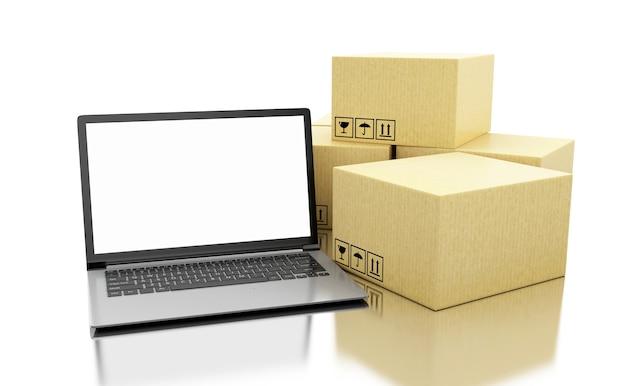 3d cajas de cartón y dispositivos de tecnología con pantalla en blanco.
