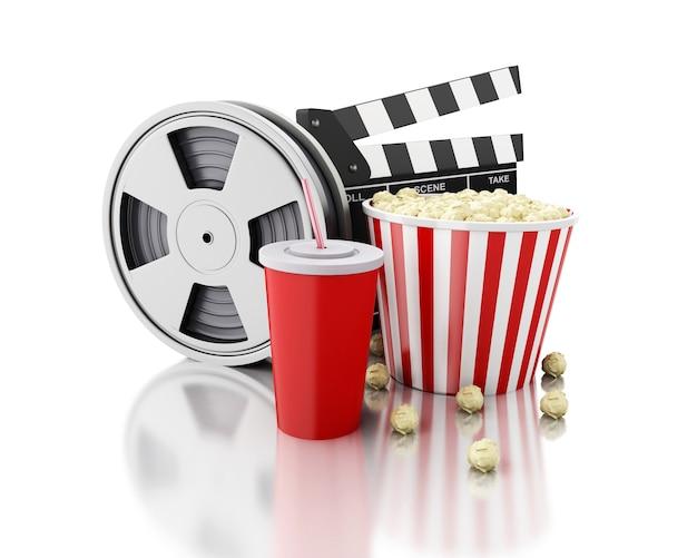 3d cine clapper, rollo de película, palomitas y bebida.