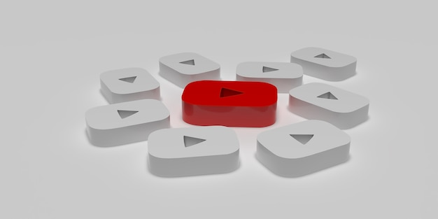 3d concepto de campaña de marketing digital de youtube con superficie blanca prestada