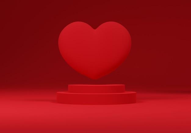 3d corazón flotando sobre un podio