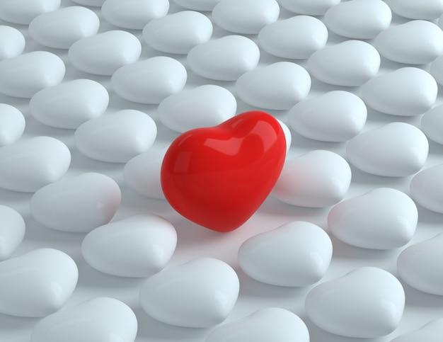 3d corazón rojo entre corazones blancos