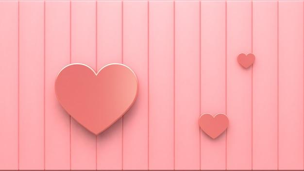 3d corazones metálicos de color rosa en el piso de color rosa representación 3d