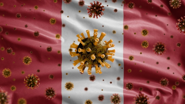 3d, coronavirus de la gripe flotando sobre bandera peruana, un patógeno que ataca el tracto respiratorio. plantilla de perú ondeando con la pandemia del concepto de infección por virus covid19
