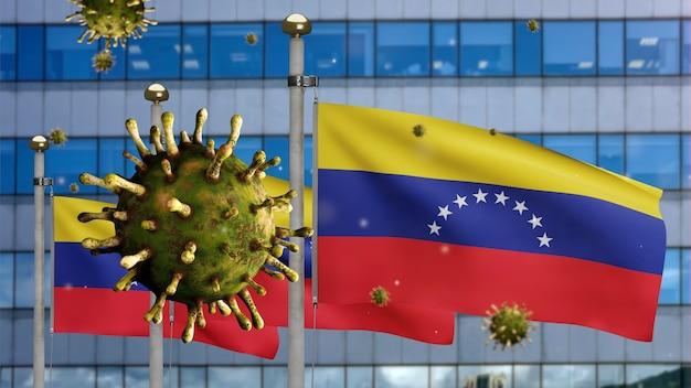 3d, coronavirus de la gripe flotando sobre la bandera venezolana con una moderna ciudad de rascacielos. bandera de venezuela ondeando con la pandemia del concepto de infección por virus covid19. bandera de textura de tela real