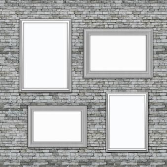 3d cuadros en blanco colgando de una vieja pared de ladrillo