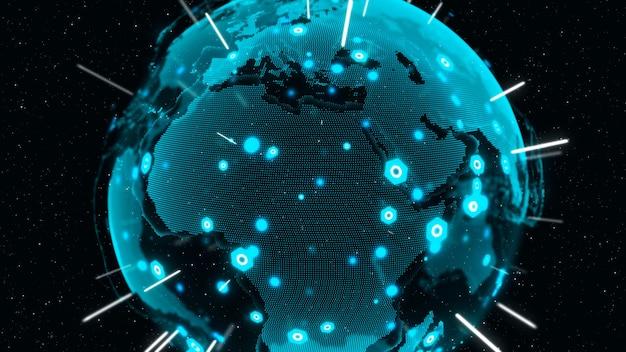 3d digital earth muestra el concepto de conexión de red global de personas internacionales. tecnología de la información moderna y concepto de globalización.