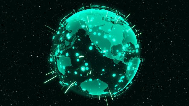 3d digital earth muestra el concepto de red global