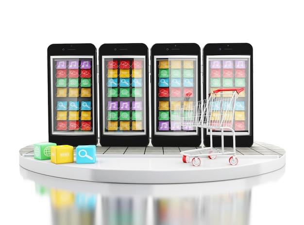 3d e-commerce, teléfono inteligente con tiendas de aplicaciones móviles.