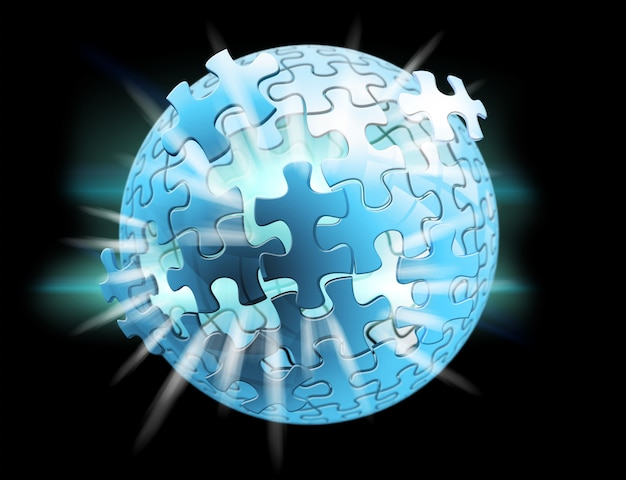 3d esfera de rompecabezas