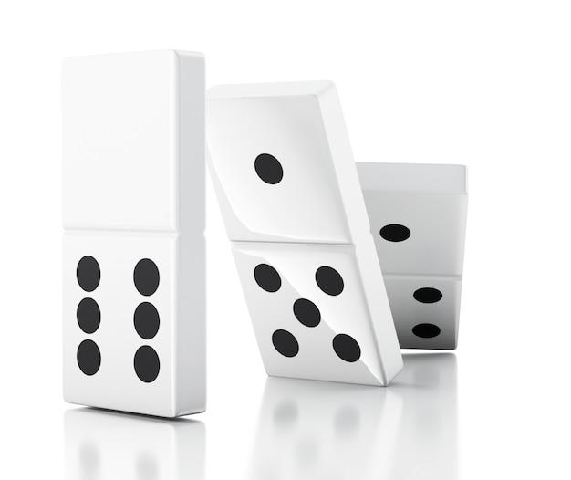3d fichas de dominó cayendo en una fila