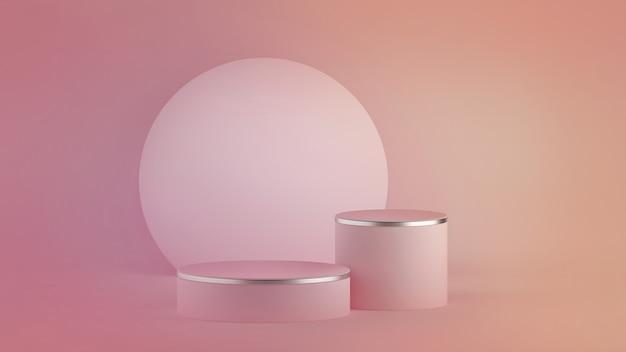 3d de fondo minimalista moderno rosa abstracto. podio del cilindro