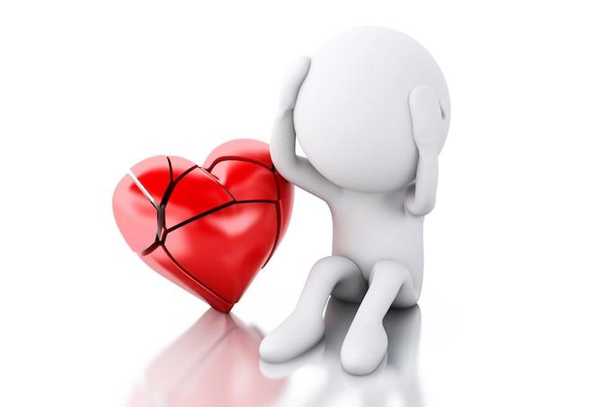 3d gente blanca con el corazón roto. concepto de amor