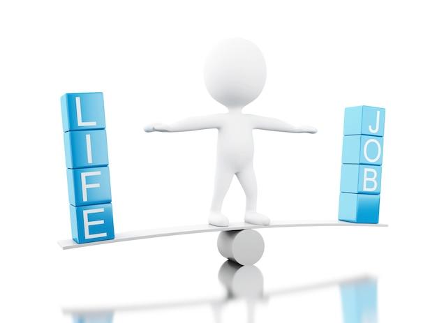 3d gente blanca en un equilibrio con las palabras vida o trabajo