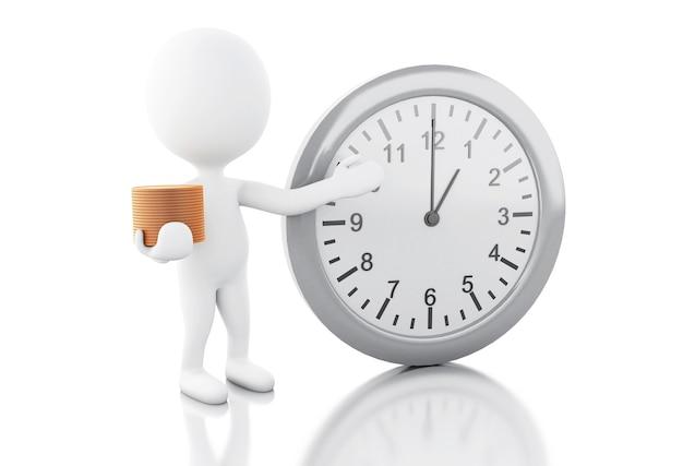 3d gente blanca con reloj despertador y dinero. el tiempo es dinero.