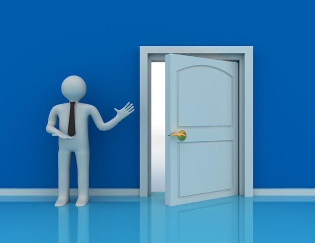 3d gente - hombre, persona y una puerta abierta